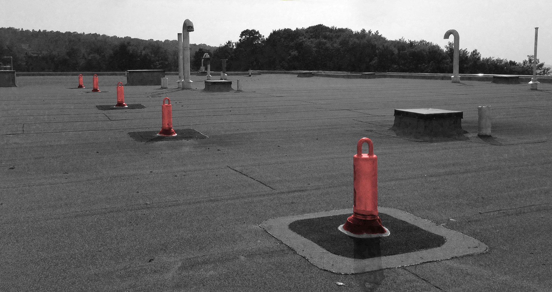 Rigid anchor points. Contact Skyline Fall Protection systems