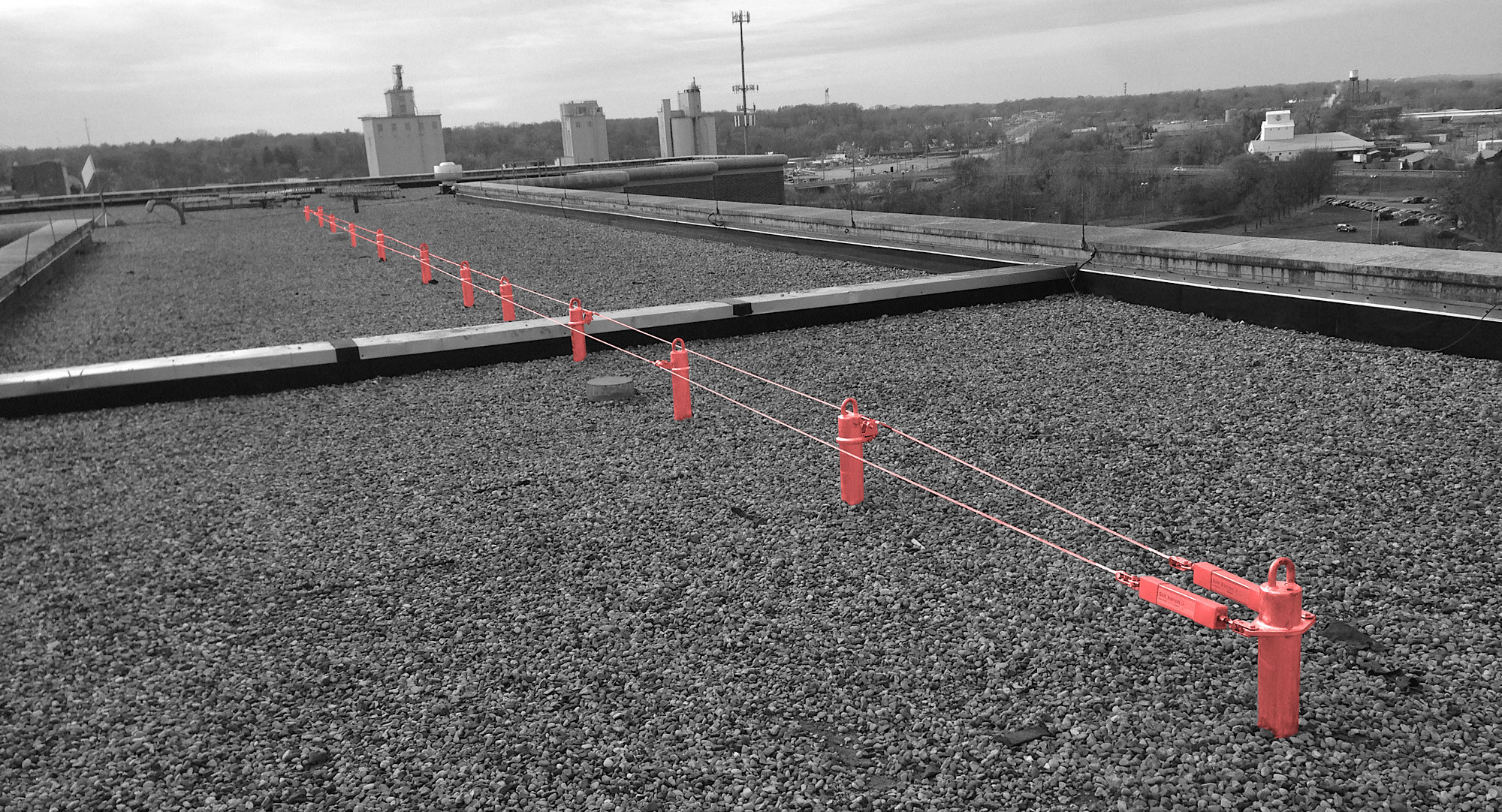 Fall protection equipment by Skyline Fall Protection. A rooftop anchorage system.