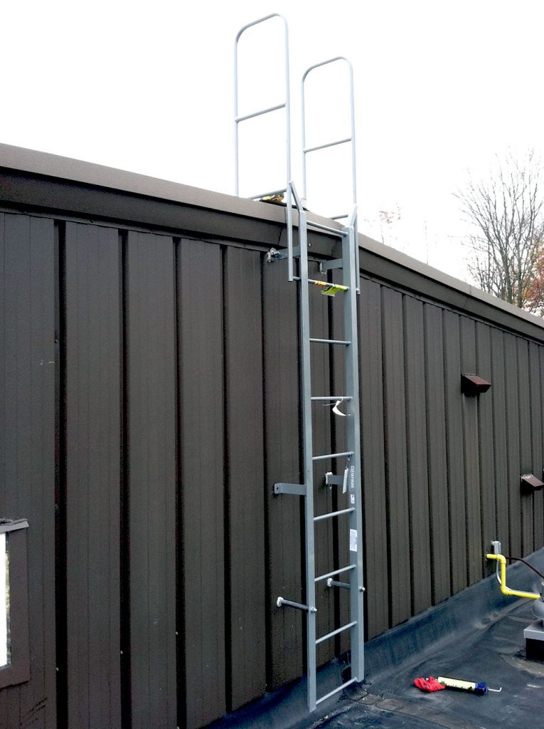 A fixed roof access ladder