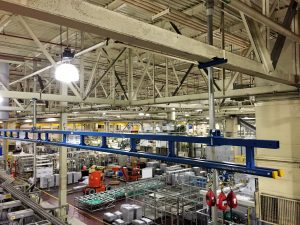 What is a fall arrest system? It can be a fall protection track like this in a warehouse setting. It is a more localized system.