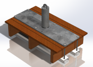 Skyline offers CAD services to its customer. A 3D image of a fall support anchor on a steel beam using CAD equipment.