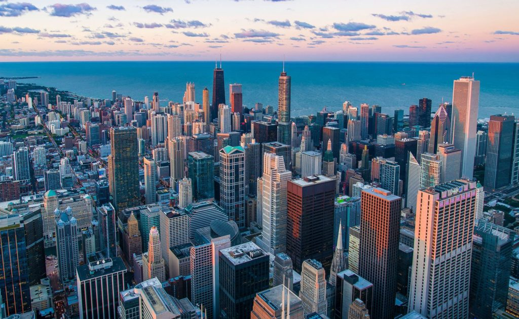 The Chicago skyline. Chicago safety anchors provide Illinois' largest buildings with well-designed safety standards.